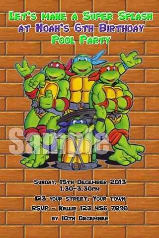 cartoon Teenage mutant Ninja Turtles birthday party invite