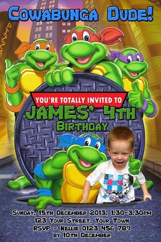 TMNT ninja turtles invitation