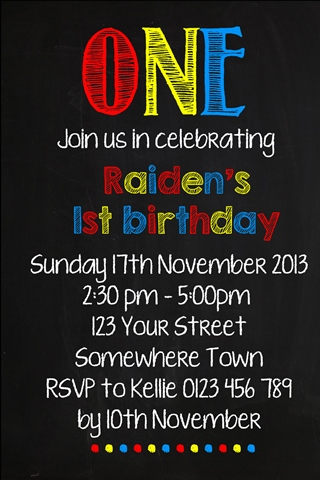 boys red blue yellow chalkboard invite