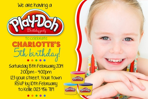 Play doh invitation with photo