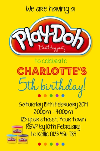 boys girls Play doh birthday party invite