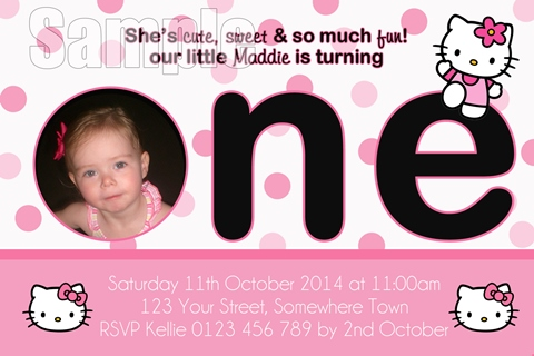 Hello Kitty first 1st birthday party girls Invitation