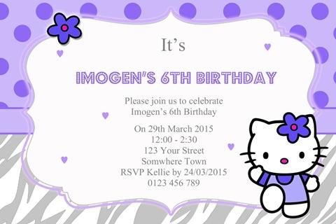 purple Hello Kitty Invitation
