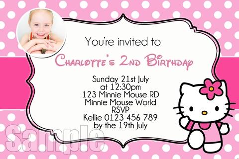 Pink polka dot Hello Kitty Invitation