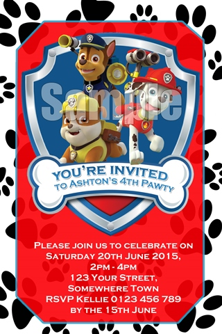red Paw Patrol birthday party invitation