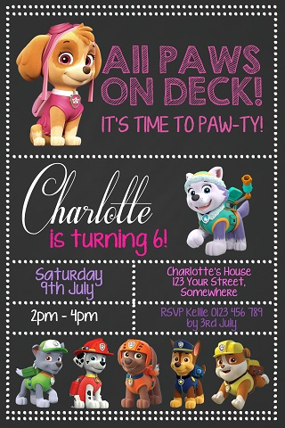 girls chalkboard Paw Patrol personalised birthday party invitations
