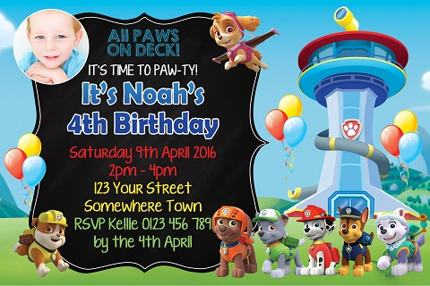 boys and girls Paw Patrol tower and characters personalised birthday party invitations