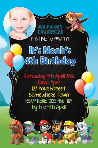 boys and girls Paw Patrol characters personalised birthday party invitations