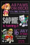 girls Paw Patrol birthday party invitation