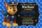 Paw Patrol personalised invitations