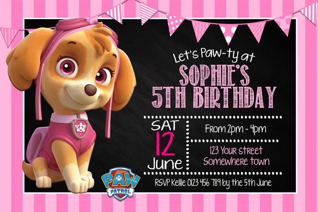 girls Paw Patrol Skye birthday party invite