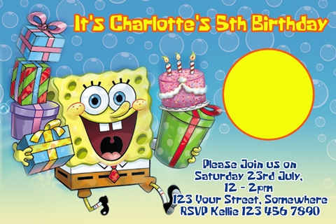 Spongebob squarepants birthday invite
