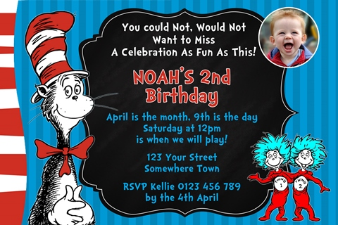 Dr Seuss Cat in the hat invitation 1 with photo