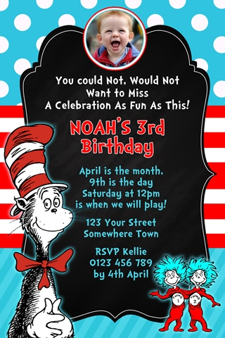 Dr Seuss Cat in the hat invitation 2 with photo