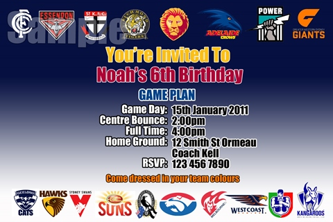 AFL club personalised birthday party invitation