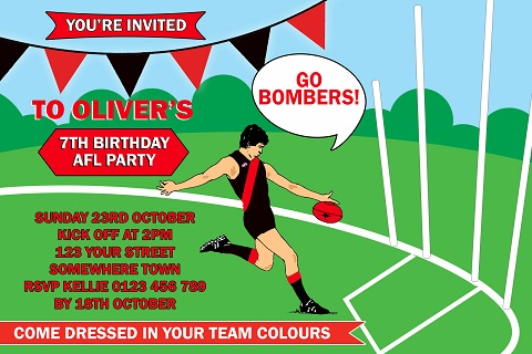 AFL BOMBERS player no photo personalised invitation