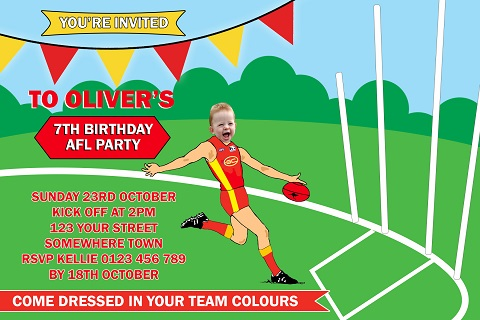 AFL SUNS player personalised invitations