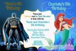 Batman and Little Mermaid 2 personalised invitation