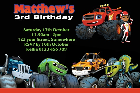 Blaze and the Monster Machines characters personalised invitations