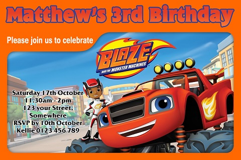 boys orange Blaze and the Monster Machines personalised birthday party invitations