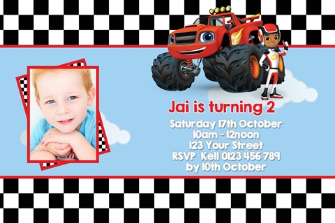 boys Blaze and the Monster Machines personalised birthday party invitations