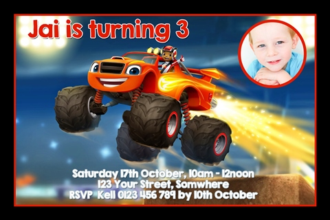 boys Blaze and the Monster Machines personalised invitations
