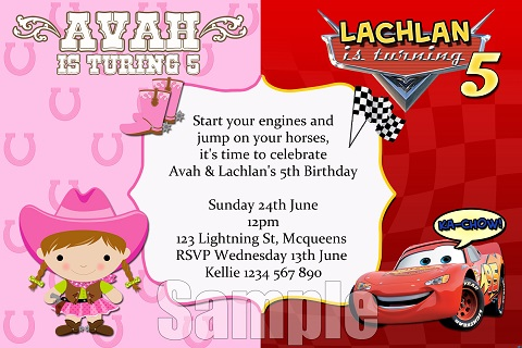 Cars and Cowgirls personalised invitation