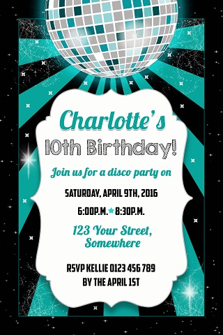 green mint Disco ball personalised birthday party invitations