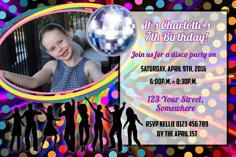 colourful boys girls Disco ball personalised invitations