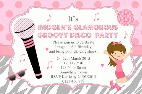 Girls pink Disco karaoke personalised birthday partyinvitations