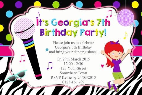 Girls Disco karaoke personalised birthday party invitations