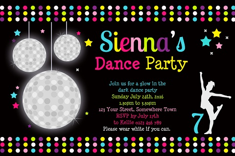 Girls Disco ball colour personalised birthday party invitations
