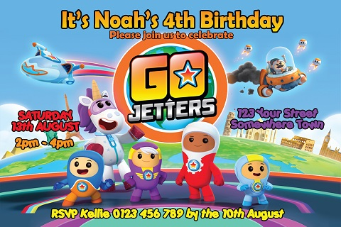 Go Jetters personalised birthday party invitations