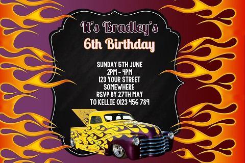 Hot Wheels personalised invitation