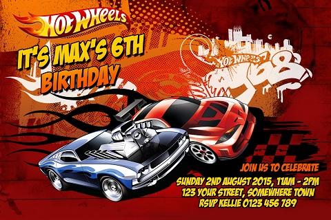 Boys red orange Hot Wheels birthday invite
