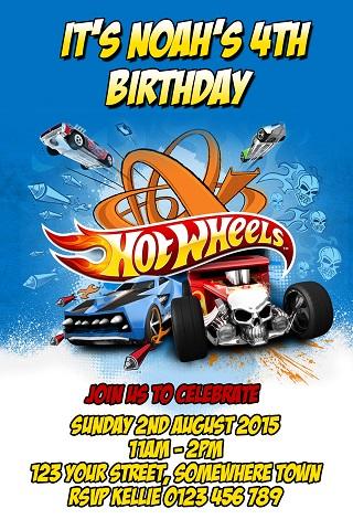 boys hot Wheels birthday party invite
