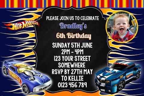 boys Hot Wheels birthday party invitation
