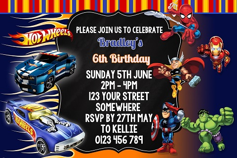 Hot Wheels and Avengers 1 personalised invitation