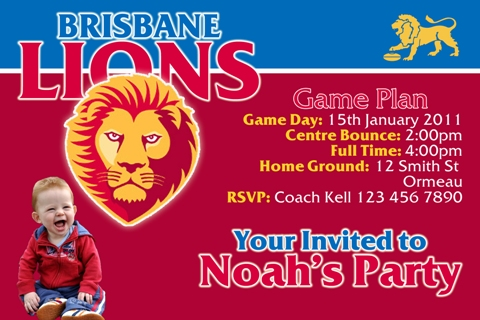 Brisbane Lions AFL personalised invitation