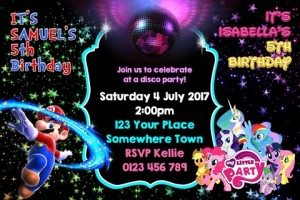Mario and My Little Pony disco party