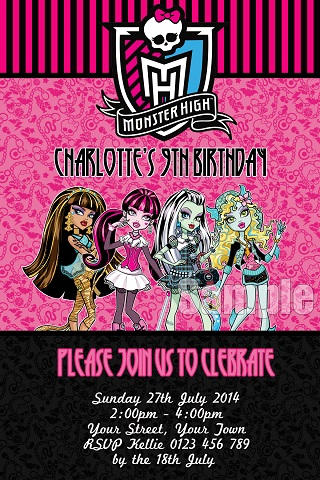 girls pink Monster High personalised birthday party invitations