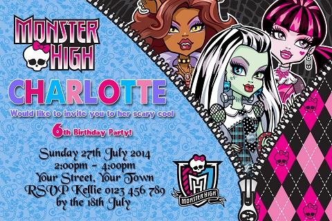 girls Monster High personalised birthday party invitations