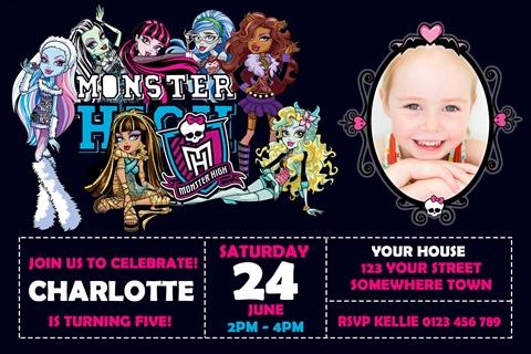 girls Monster High birthday party invite