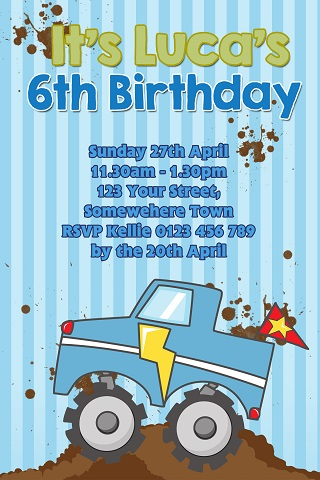 cartoon boys blue Monster Truck personalised invitations