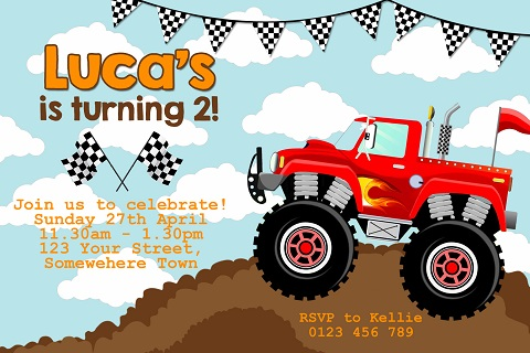 boys red monster truck birthday party invitations