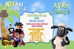 Pirate and Shaun the Sheep personalised invitation