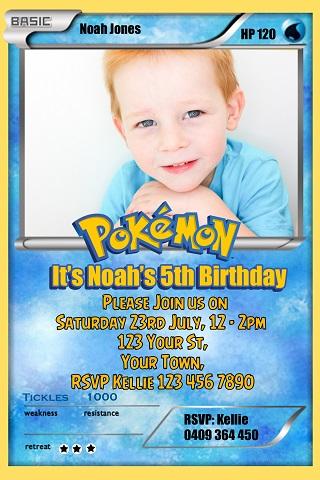 Pokemon card photo birthday party invitations