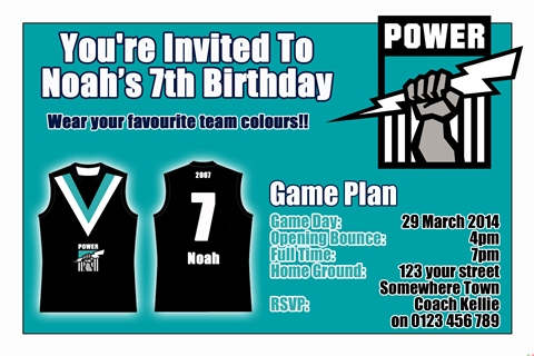 Port Power AFL personalised invitation