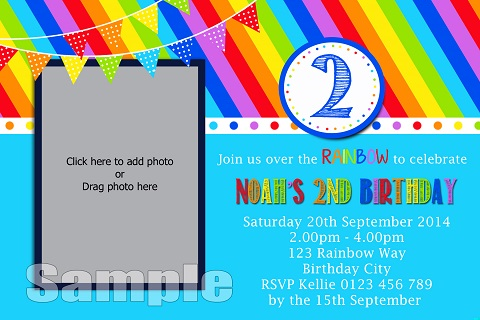 bright Rainbow Boy personalised birthday party invitations