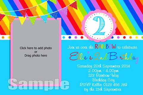 Rainbow blue bright birthday party invitations